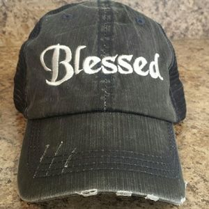 "Accessories - NEW! ""Blessed"" distressed trucker hat"
